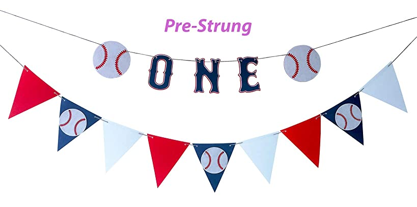 Set of 2 Baseball First Birthday Party Pennant Banner, Baseball Highchair Banner, Baseball Highchair One Banner, For Baby Boy 1st Year Birthday Baseball Themed Party Decoration-No Assembly Required