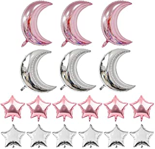 Crescent Moon Shaped Mylar Balloons 36 inch Moon and Star Party Balloons Pack of 18 for Birthday Party Anniversary Celebrate Parties Wedding Baby Shower Decorations (Moon and Star Rose Gold 28 In)