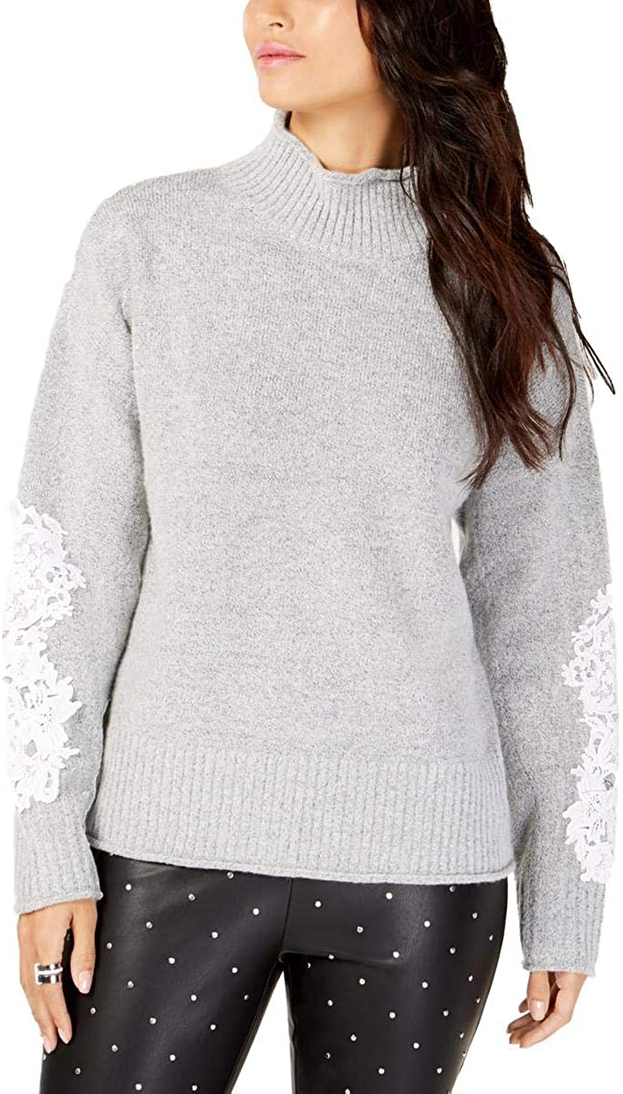 INC free shipping Womens Applique Mock-Neck Sweater Gray Pullover Gifts L
