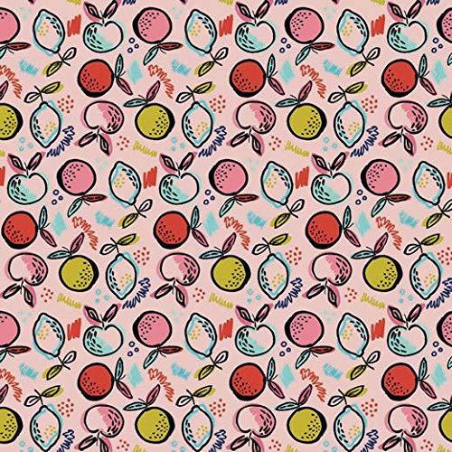Jersey Stoff mit kleinen Äpfeln auf Rosa als Meterware zum Nähen von Kinder- und Damenkleidung, 50 cm