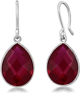 Gem Stone King Created Red Ruby 925 Sterling Silver Teardrop Dangle Earring (12.00 cttw, 16X12MM Pear Shape)