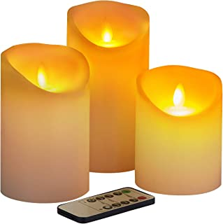 """Flameless Candles Battery Operated Candles,4"""" 5"""" 6"""" Set of 3 Real Ivory Wax, Include Realistic Dancing LED Flames and 10-K..."""