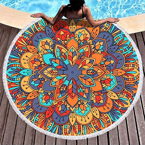 Lolyze Toalla de playa con diseño de mandala abstracto, grande, redonda, suave, de microfibra, para playa, baño, picnic, yoga, playa, para exteriores y viajes, color blanco, 150 cm