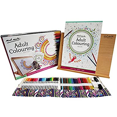 Mont Marte Adult Coloring Set 54pce, Colour Pencils, Dual Tip Markers, a Coloring Book, a Wooden Drawing Board