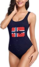 Vintage Shark Norway Flag Women's Swimsuit One Piece Swimsuit Bathing Suit for Hawaii