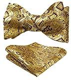 HISDERN Conjunto de corbata de lazo floral jacquard para hombre Talla unica Amarillo / Dorado /...