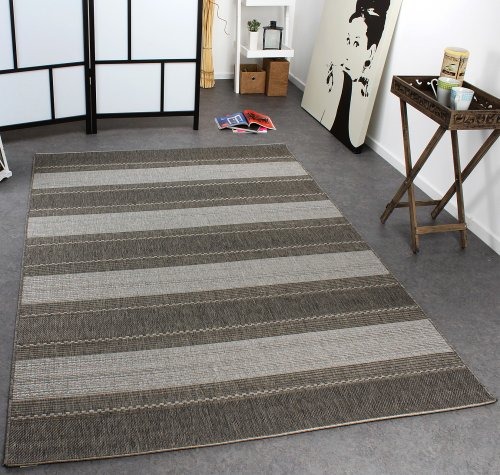 Paco Home In- & Outdoor Teppich Modern Flachgewebe Gestreift Sisal Optik Grau Töne, Grösse:160x220 cm