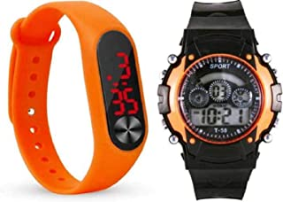 Unequetrend Digital Led Sports Watch For Boys & Girls (Pack Of 2) (Orange)