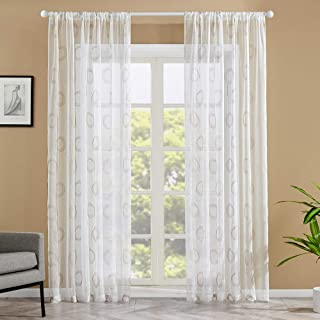 Sheer Curtains Floral Embroidered Living Room Curtain Sheers Circle Embroidery Bedroom 84 inch Length Voile Curtain Panels Flower Window Treatment Rod Pocket Drapes 2 Panels Taupe Circle on White