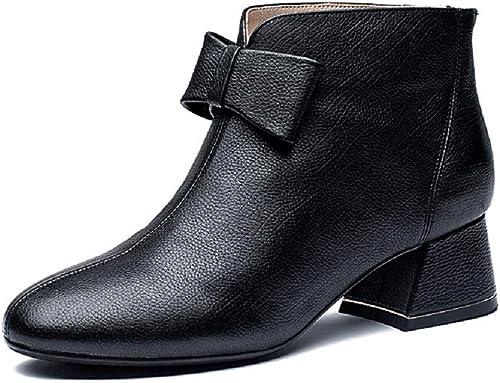 Gaslinyuan Bowknot stivali donna Block Zipper Leather Martin sautope (Coloreee   Nero, Dimaschisione   EU 39)