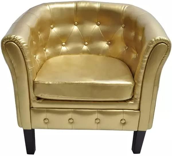 VidaXL Gold Artificial Leather Tub Barrel Design Club Chair W Tufted Button Accents