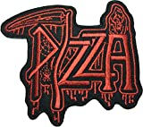 Dead pizza patch (RED) 9 x 8cm biker heavy metal Logo Jacket Vest shirt hat blanket backpack T shirt Patches Embroidered Appliques Symbol Badge Cloth Sign Costume Gift