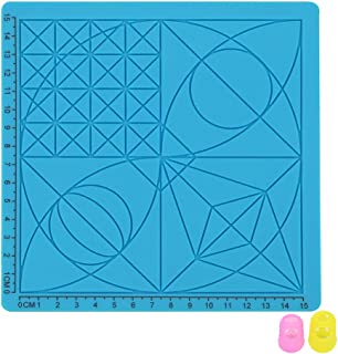 UKCOCO Silicone Mat for 3D Printing Pen Drawing Template Pad with 2 PCS Finger Covers (Sky Blue)