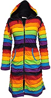 Shopoholic Fashion Women Fleece Lined Knee Length Rainbow Jakcet