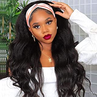 LEOSA Long Wavy Headband Wig for Black Women, Synthetic Body Wave Wig Easy to Wear Wig with Black Headband Natural Looking...