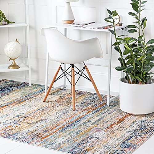 Rugs.Com Malibu Collection Area Rug – 5' x 8' Multi Low-Pile Rug Perfect for Bedrooms, Dining Rooms, Living Rooms