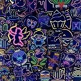 MENGYUE 50 Uds, Pegatina de luz de neón, Regalos, Juguetes para niños, Divertidas Pegatinas de Vinilo a Prueba de Agua, Paquete para portátil, Equipaje, Guitarra, Graffiti, Pegatina para Coche