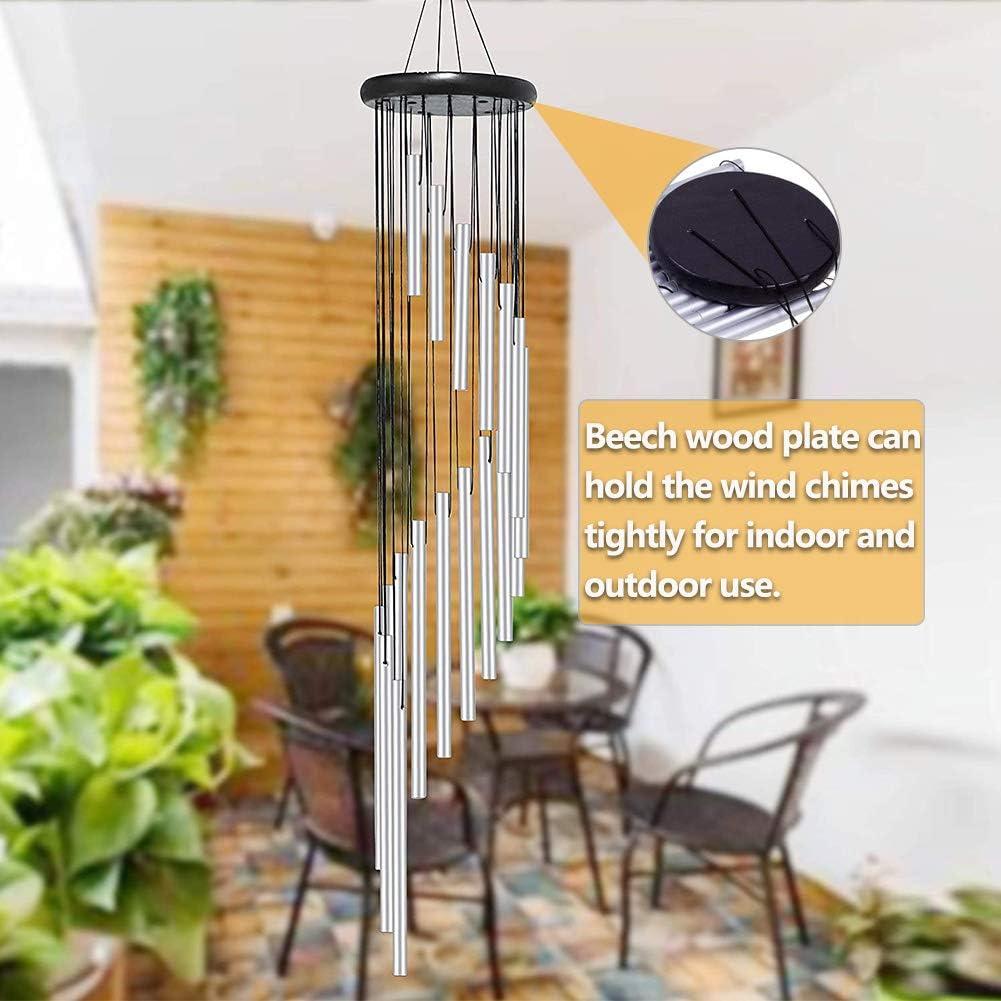 Wind Chimes Beech 18 Metal Aluminium Tubes Natural Memorial Soothing Wooden Garden Hanging Pendulum Outdoor Backyard Indoor Large Decor for Home Gold