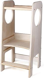CRZDEAL Tour d'apprentissage – Learning Tower en bois Chaise d'apprentissage pour bébé Chaise d'apprentissage réglable en ...