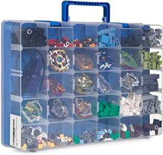 Bins & Things Toy Storage Organizer and Display Case Compatible with Beyblades, LOL Dolls, LPS Figures - Portable Adjustable Box w/Carrying Handle (Blue)