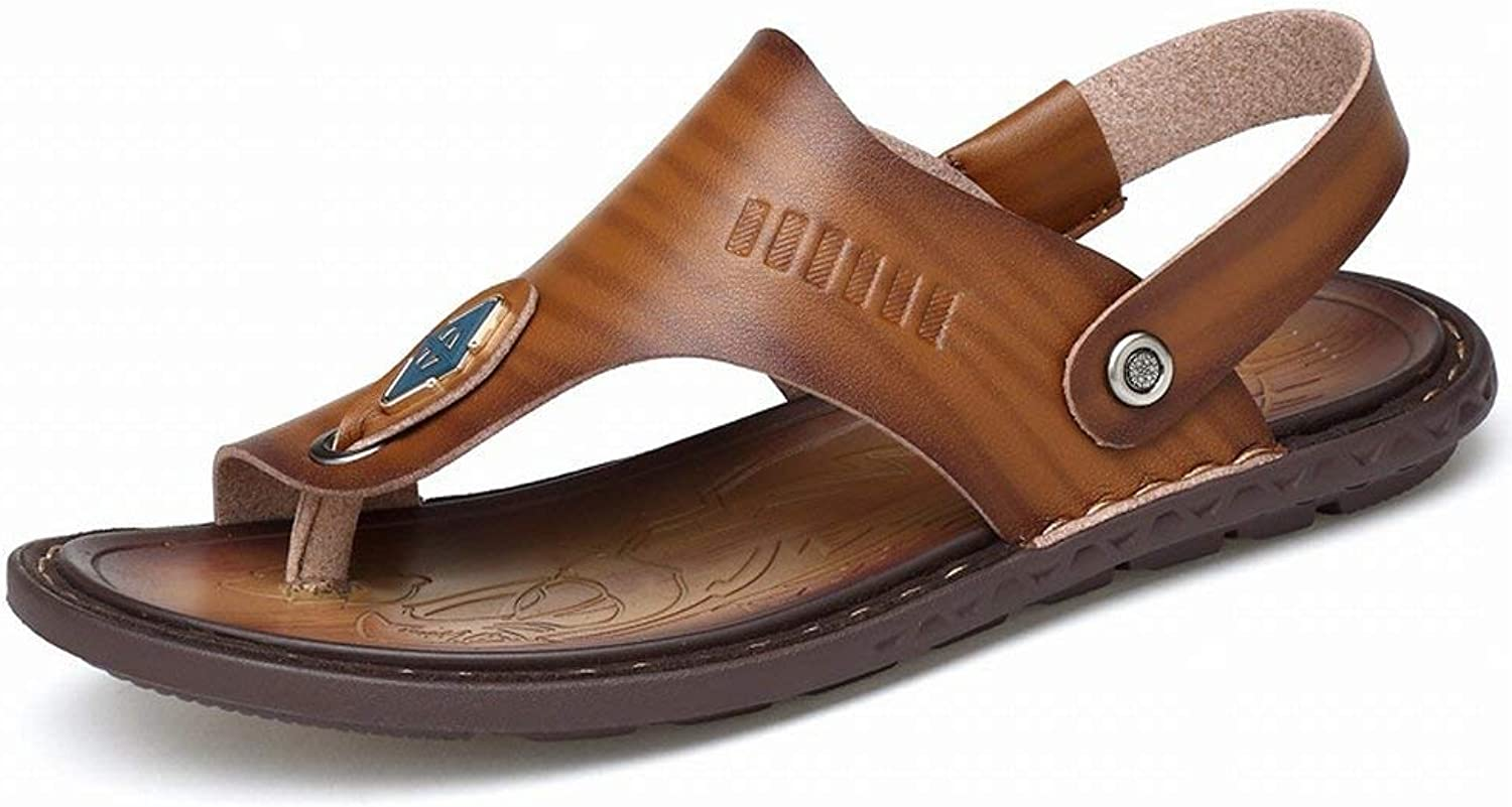 Hhgold bluee Trend Sandals Comfortable Microfiber Leather Slippers Breathable all-in-one sandals (color   Khaki, Size   42)