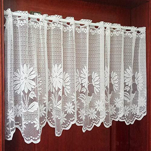 ZHH Lace Cafe Curtain Sheer Window Valance Embroideried Sun Flower Kitchen Curtains 21 by 66-Inch, White