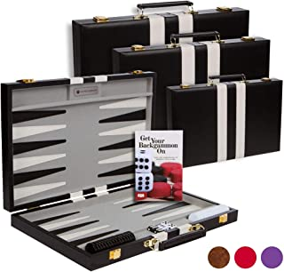 Get The Games Out Top Backgammon Set - Classic Board Game Case - Best Strategy & Tip Guide - Available in Small, Medium and Large Sizes (Black, Small)