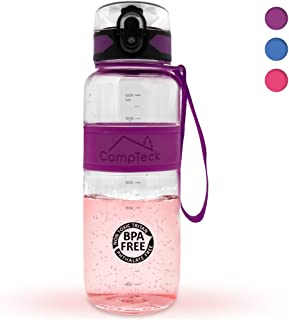 CampTeck Leak Proof BPA Free Sports Drinking Water Bottle with Carry Strap (450ml, 600ml, 1000ml)