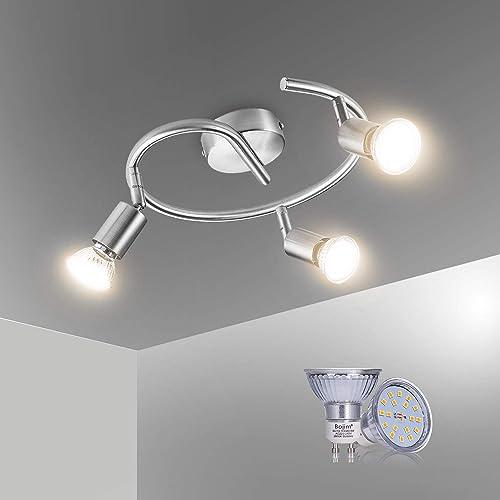 Bojim Plafonnier LED 3 Spot Orientables avec Ampoules GU10 6W Blanc Chaud, Applique Plafond Spirale 230V, 600lm, eqv....
