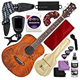 Luna Safari Series Tattoo Travel-Size Dreadnought Acoustic Guitar with Guitar Strap, Massaging Strap Attachment and Deluxe Accessory Bundle