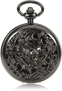 Lwieui Reloj de Bolsillo Reloj de Bolsillo mecánico de almeja Hueco Reloj de Bolsillo de Mesa Colgante de Cadena de Person...