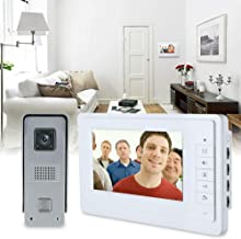 """4-draads 7"""" video deurintercom bel intercom met camera eengezinshuis (1-camera 1-monitor nachtzicht)"""