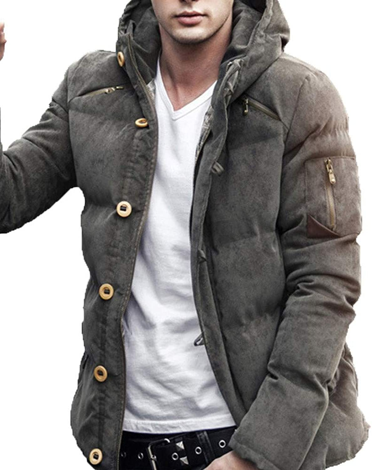 Men's Autumn Winter Pure color Pocket Zipper Hooded Jacket Caps Top Coat (color   Army Green, Size   L)