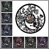 1 Pieza Reloj de Pared de manicura Esmalte de uñas Tienda de Belleza Reloj de Pared con Registro de Vinilo Reloj de Pared de salón de uñas Decoración Arte de Pared Creativo-Blanco_Sin