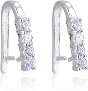 5pcs Sterling Silver Pendant Pinch Bail Connector Bead 4-Diamond-Design 15mm w/Cubic Zirconia for Jewelry Craft Making SS203