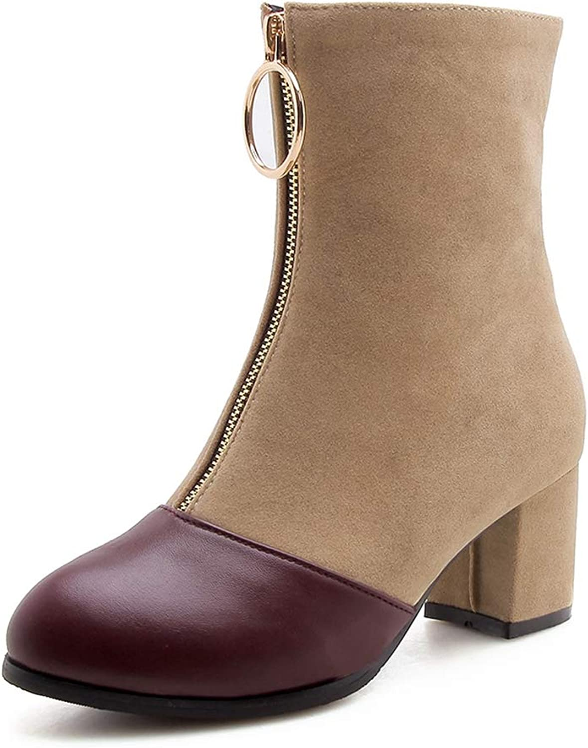 T-JULY Women's New Square Heel Mid Calf Boots Plus Size Zip Up Winter Boots Girls Ladies shoes