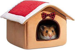 Hollypet Warm Small Pet Animals Bed Dutch Pig Hamster Nest Hedgehog Rat Chinchilla Guinea Habitat Mini House, Christmas House