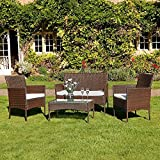 Kingfisher FSR 4 Piece Black <span class='highlight'>Rattan</span> <span class='highlight'>Effect</span> <span class='highlight'>Garden</span> Patio <span class='highlight'>Furniture</span> <span class='highlight'>Set</span> (Brown)
