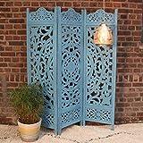 Casa Moro | Biombo de Madera Oriental Fayek, 152 x 182 cm, Color Azul, 3 Piezas, de Madera Maciza de Mango, Tablero de Densidad Media, artesanía Pur | PV5530
