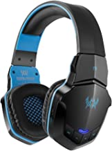 Gaming Headset Bluetooth Wireless PC Headphone Built-in Microphone with 50mm HIFI Audio Compatible with Smart-phone Android Tablets Computer Laptops etc (Black&blue)