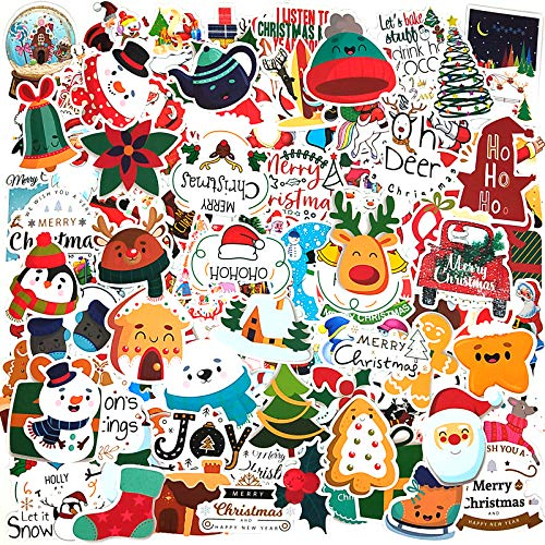 Christmas Stickers,100 Cute Aesthetic Vinyl Waterproof Christmas Stickers for Laptop Water Bottle Envelopes Crafts Scrapbooking,Stickers for Kids Teens Adults Gifts