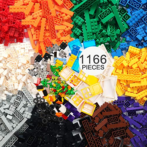 EP EXERCISE N PLAY 1166-teiliges Baustein-Kit mit Rädern, Reifen, Achsen, Fenstern, Türen und Blättern, Blumen, Gras - Klassische Farben - Kompatibel mit Allen wichtigen Marken (bunt-1, 1166pcs)