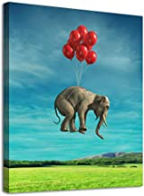 Elephant Canvas Wall Art Modern Fantastic Animal Picture African Elephant with Balloon Canvas Artwork Contemporary Wall Art for Home Decor Bedroom Living Room Decoration Framed Ready to Hang 12