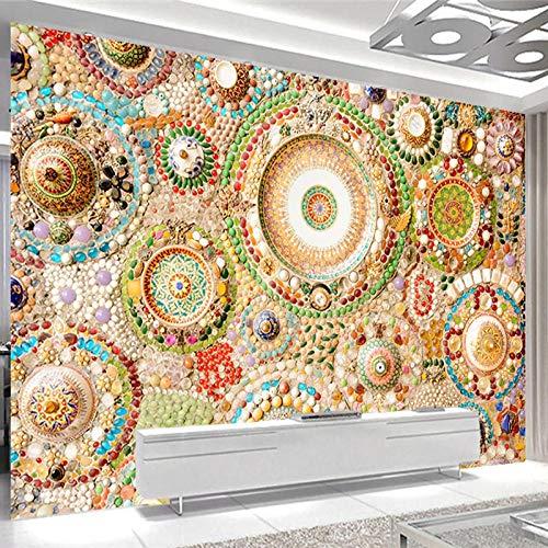 MUMUWUSG Mural De Pared Cuarto De Los Niños - Azulejos De Patrón De Piedras De Colores Retro - Papel Tapiz Fotográfico Tapiz 3D Mural No Tejido Papel Pintado Y Tapiz Y Decoración