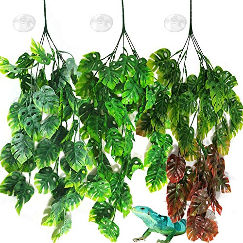 PINVNBY Reptile Plants Hanging Terrarium Plastic Fake Vines Lizards Climbing Decor Tank Habitat Decorations with Suction Cup for Bearded Dragons Geckos Snake Hermit Crab 3PCS (Style 1)