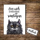 ilka parey wandtattoo-welt A6 Postkarte Ansichtskarte Flyer grimmige Katze Grumpy mit Spruch Lass Mich. pk099