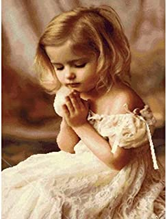 DIY 5D Diamond Painting by Number Kit, Little Girl Praying Full Drill Rhinestone Pictures Arts Craft for Home Wall Decor