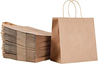 Brown Kraft Paper Bags with Handles Bulk,Sturdy Take Away Food Bags 9.45X6.1X11 Inch 50Pcs/200Pcs Per Pack, Food Take Out Bags,Christmas Party Bags,Shopping Paper Bags,Retail Bags,Kraft Gift Bags