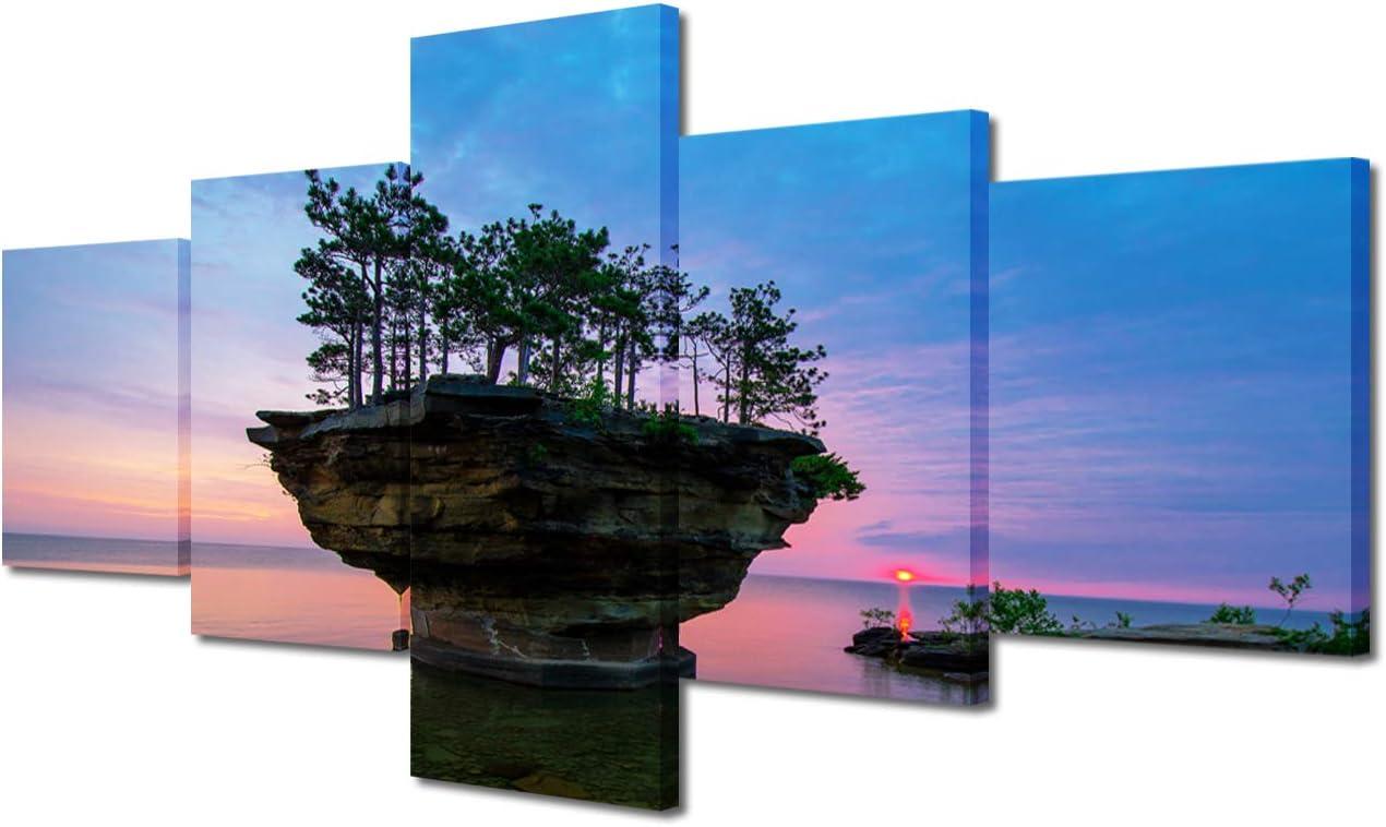 TUMOVO Canvas Tulsa Mall Painting Gift 5 Reservation Modular Lake Michigan Panels Huron