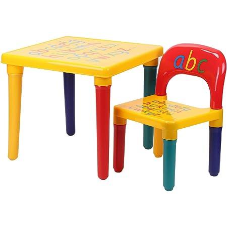 MorNon Ensemble Table Chaises Plastique pour Enfants ABC Alphabet Enfants Tout Petits - Kit